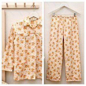 Vintage Ladies Orange Floral Cotton 2Pc Pajama Set